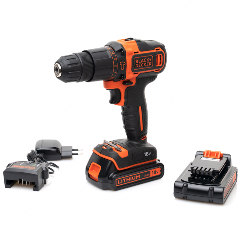 Drill-screwdriver rechargeable shock BLACK + DECKER BDCHD18KB (Li-ion battery 18 V 1,5 Ah 2-speed torque