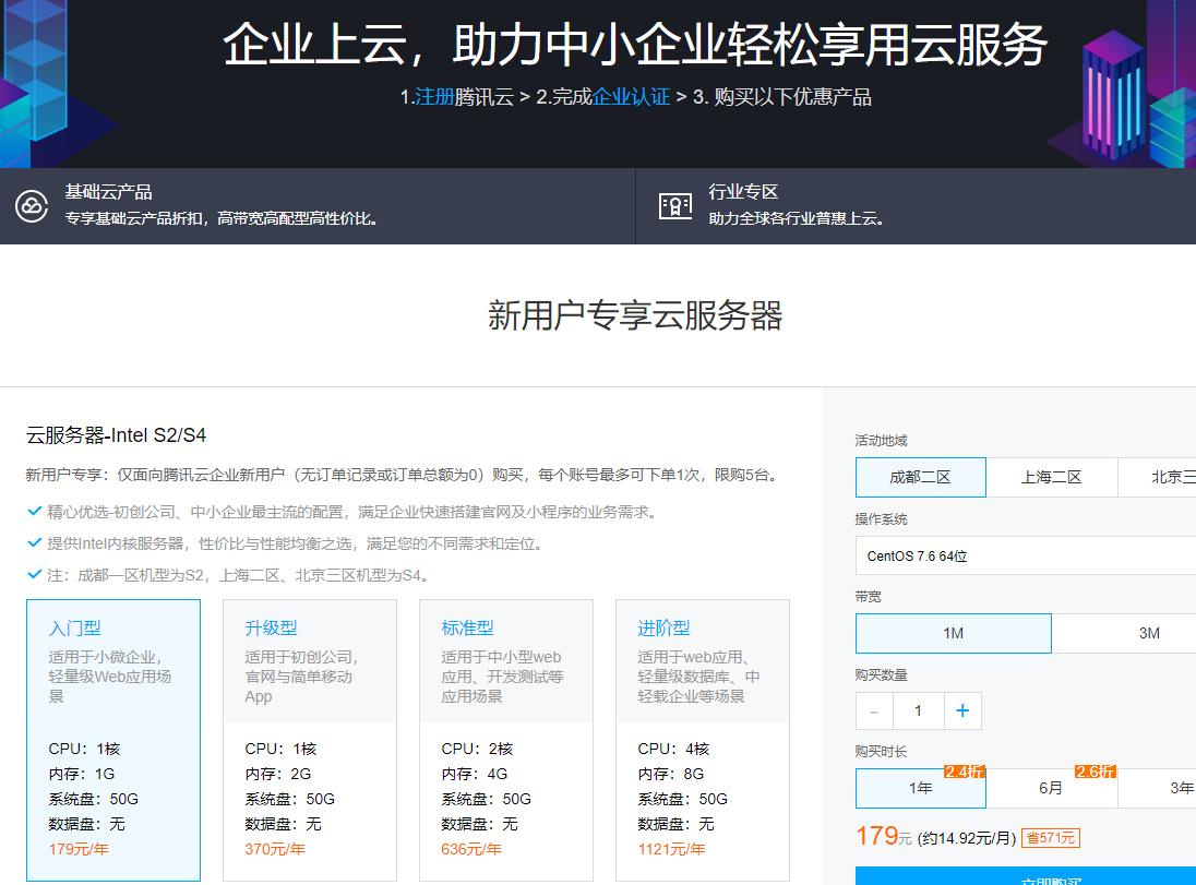 羊毛党之家 腾讯云服务器2核4G3M怎么样,多少钱一年?