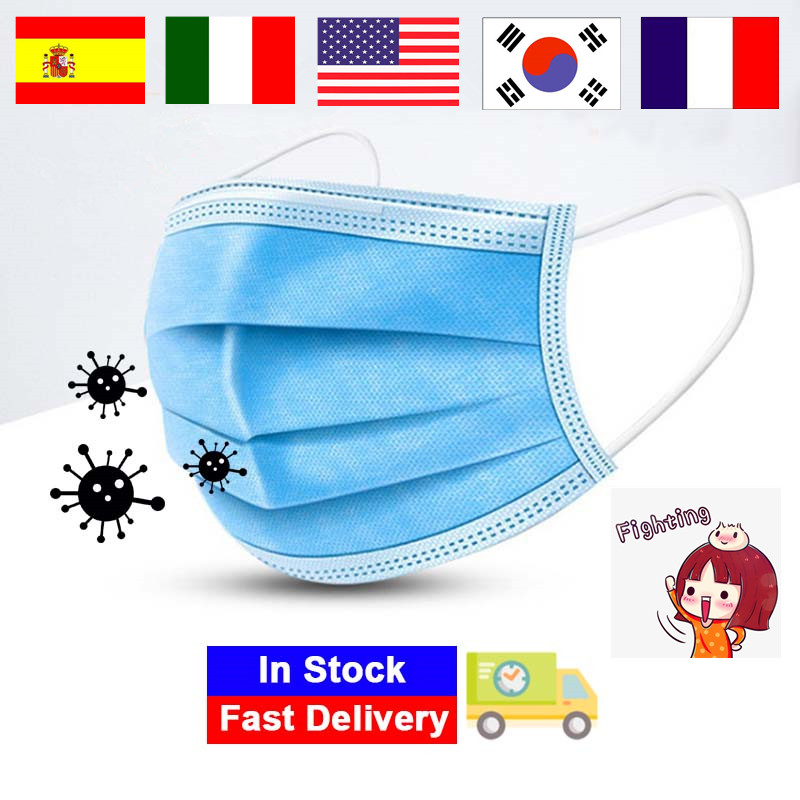 100/50/10 PCS Disposable Protective Mask 3 Layers Dustproof Facial Protective Safety Masks Prevent Disease Masks Dropshipping