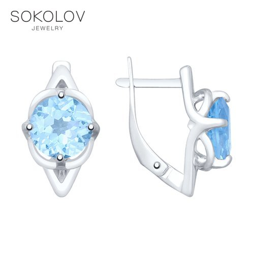 SOKOLOV Drop Earrings With Stones With Stones With Stones With Stones With Stones With Stones With Stones With Stones In Silver Fashion Jewelry 925 Women's/men's, Male/female