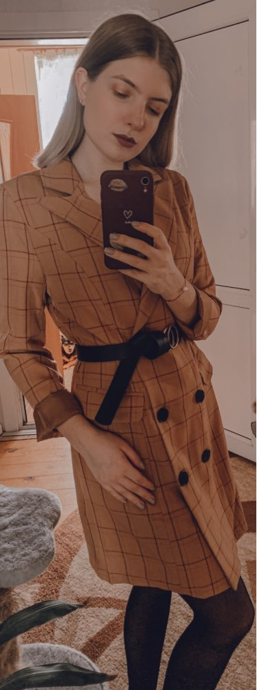 Conmoto Vintage Khaki Plaid Women Blazer Dress 2019 Autumn Winter Slim Long Blazer Check Office Blazer Jacket Feminino Outerwear reviews №1 115590
