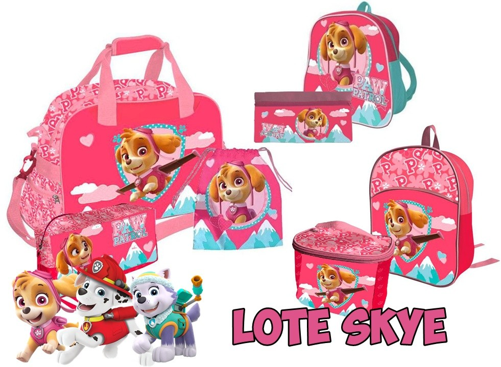 Lot Skye Patrol Dog Sport Bag, 2 Backpacks, Drawstring Bag, 2 Toiletry Bag And Pouch