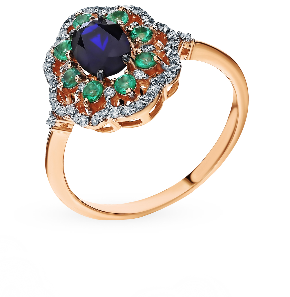 Gold Ring With Sapphire, Emeralds And Diamonds Sunlight Sample 585
