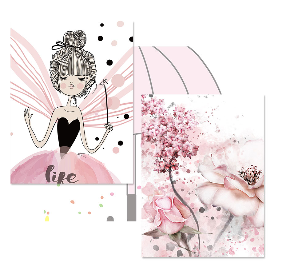 U0c96734a314b471fb17ee3d73e9f2ae28 Watercolor Pink Kawaii Girls Poster Nursery Decor Flower Canvas Paintings Print Wall Art Pictures Gifts Children Room Home Decor