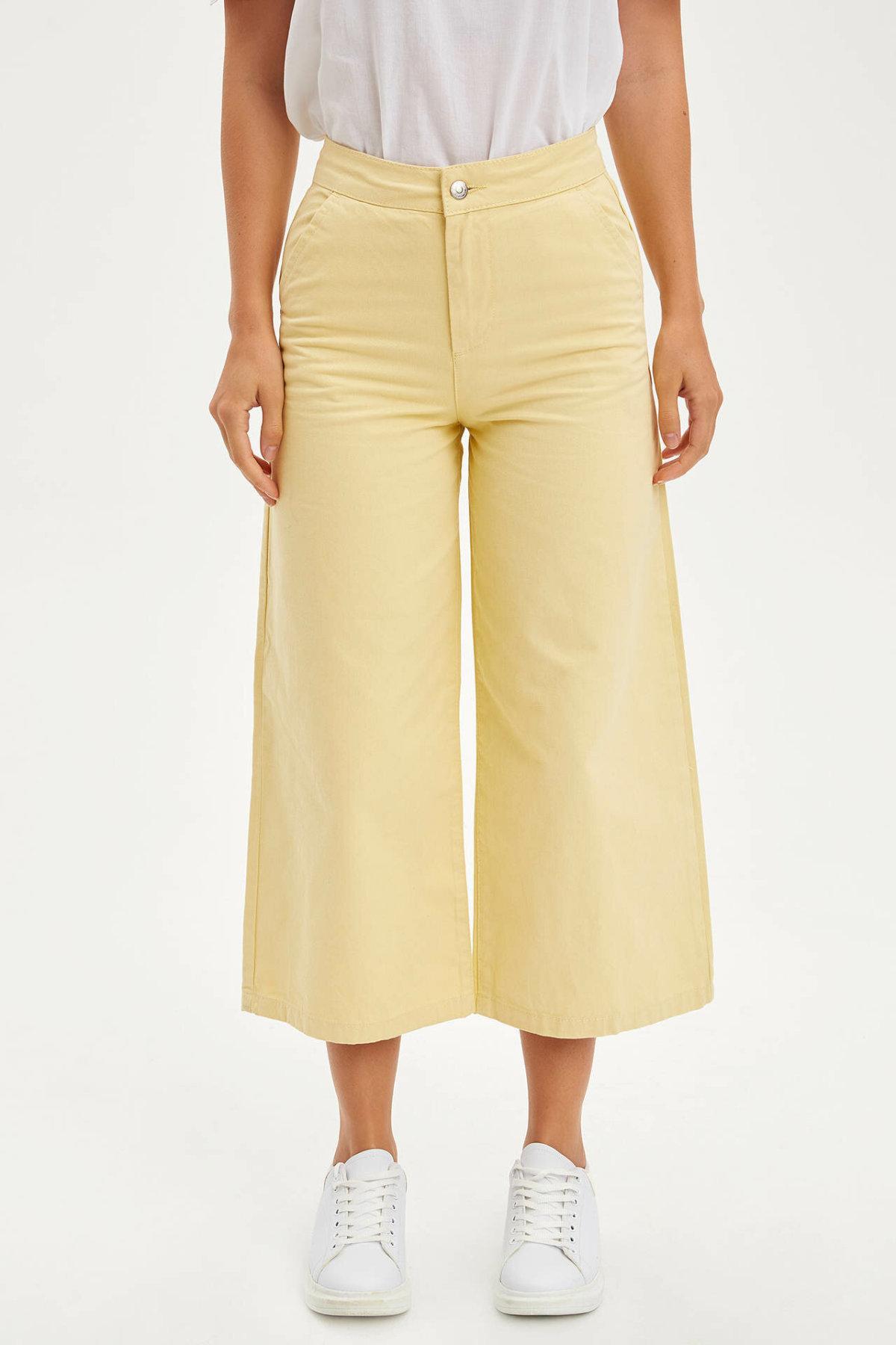 DeFacto Woman Spring Light Yellow Wide-leg Pants Women Casual Loose Ninth Pants Female Mid-waist Trousers-L8885AZ19HS
