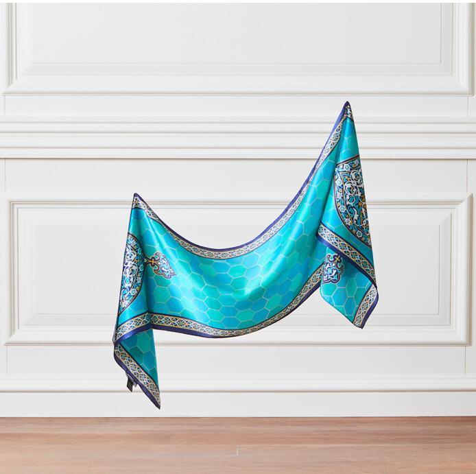Foulard en soie-fabriqué en turquie-% 100 soie-thème de la tombe verte-Collection d'art-Design spécial