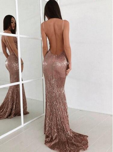 Meerjungfrau Tiefem V-ausschnitt Sweep Zug Rosa Pailletten Backless Sexy Prom Kleid