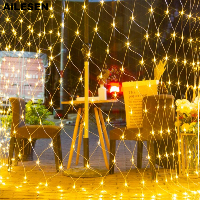 AiLESEN 1.5*1.5m 3x2m LED Net Mesh Fairy String Light Garland Window Curtain Christmas Outdoor Wedding Party Holiday Lights Lamp