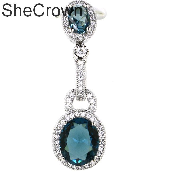 39x12mm Claasic Created London Blue Topaz White CZ Gift For Girls Silver Pendant