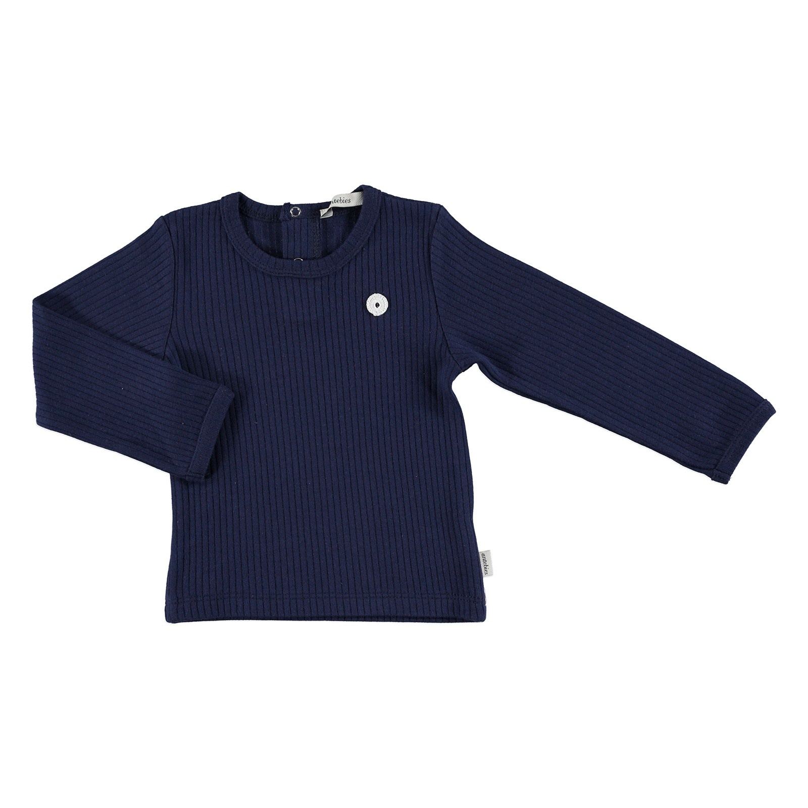 Ebebek Antebies Baby Organic Navy Blue Reported Rib Long Sleeve Bodysuit