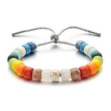 Bracelet tressé en pierre naturelle pour hommes et femmes, bijoux fait à la main mixte, perles arc-en-ciel, style Boho, cadeau po