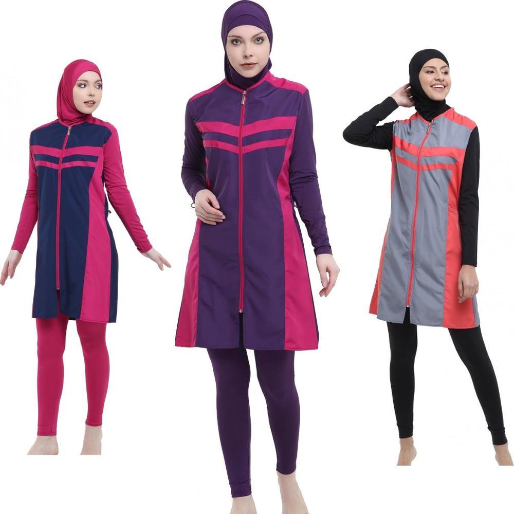 Argisa 7109 Micro Sleeves Long Hijab Swimwear S-XXL Muslim Hijab Islamic Swimsuit Swim Burkinis Full Cover