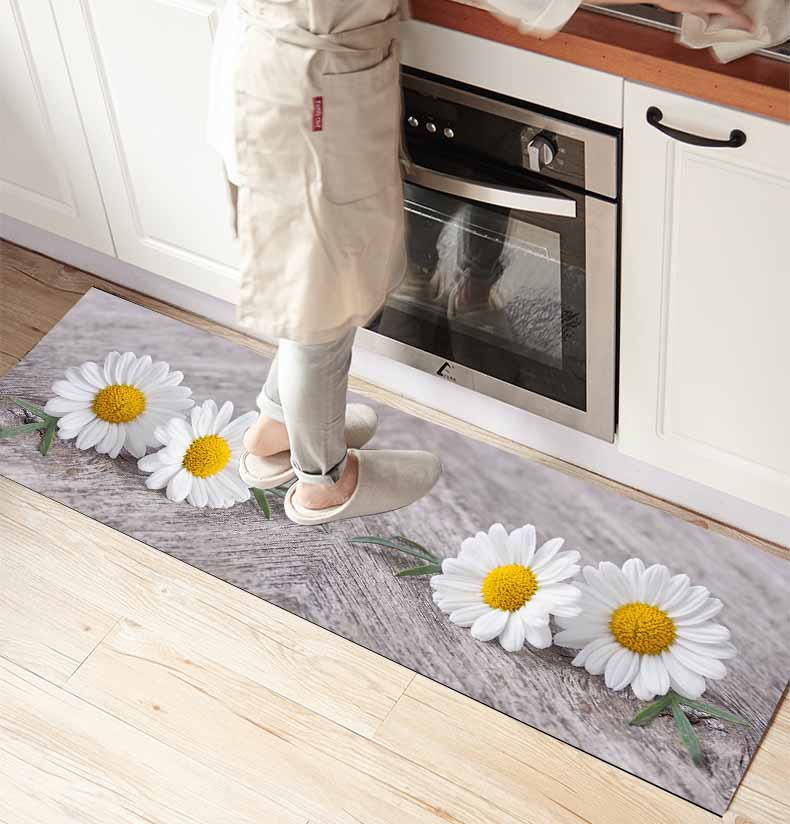 Else Gray Floor On Daisy Flowers  3d Print Non Slip Microfiber Front Of Kitchen Counter Modern Decorative Washable Area Rug Mat