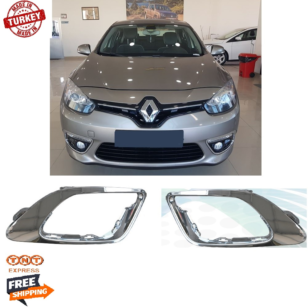 1 Pair Front Bumper Left + Right Fog Light Frame Chrome for Renault Fluence 2013-2017 261520541R / Free TNT Express Shipping