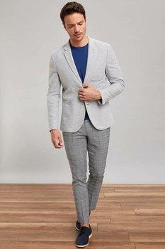 DeFacto Man Winter Smart Casual Long Pants Men Mid-waist Plaid Bottoms Male Light Grey Grids Trousers-L5089AZ19HS