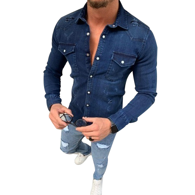 New Mens Denim Fashion Shirts Casual Jeans Jackets Long Sleeve  Pocket Slim Fit Button Autumn Soild Color Turn Down Collar Tops