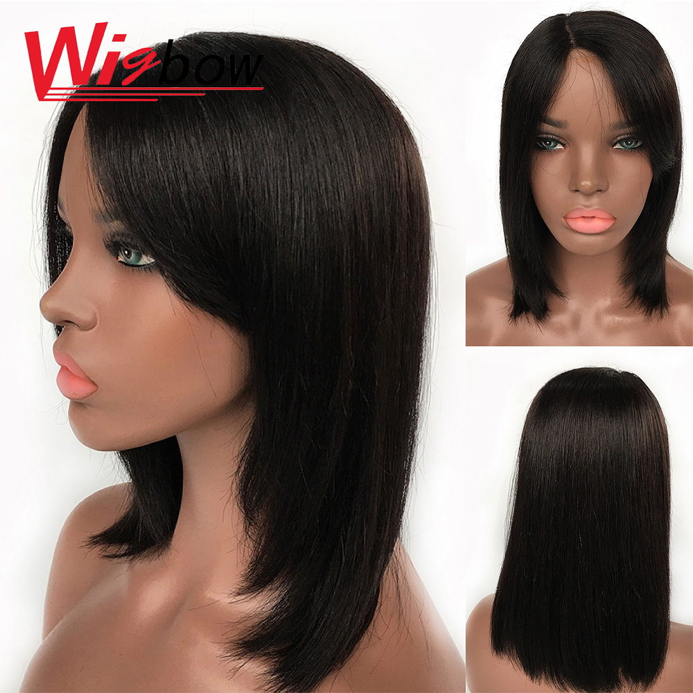 Bang Wig Human Hair Raw Indian Hair Preplucked Lace Wig With Baby Hair Lace Part Wigs For Black Women In Natural Black Wigbow