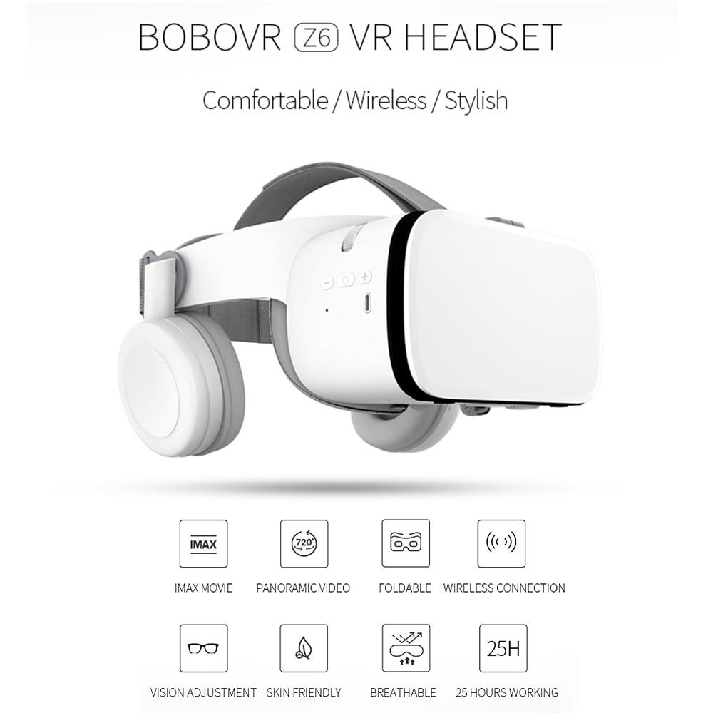 Z6 VR 3D Glasses Headsets Bluetooth Virtual Reality Glasses Game Cinema Wireless VR Helmet IMAX For 4.7-6.2 inch Mobile Phones
