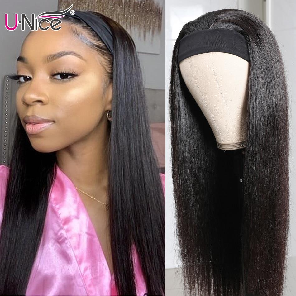 Unice-peluca y bufanda de cabello humano liso para mujer afroamericana, sin pegamento, asequible, peluca con diadema, amigable para principiantes