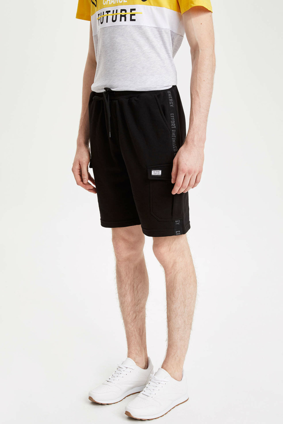 DeFacto Men Summer Casual Black Shorts Men Loose Lace-up Short Bottoms Male Pocket Decors Shorts-K7169AZ19SM