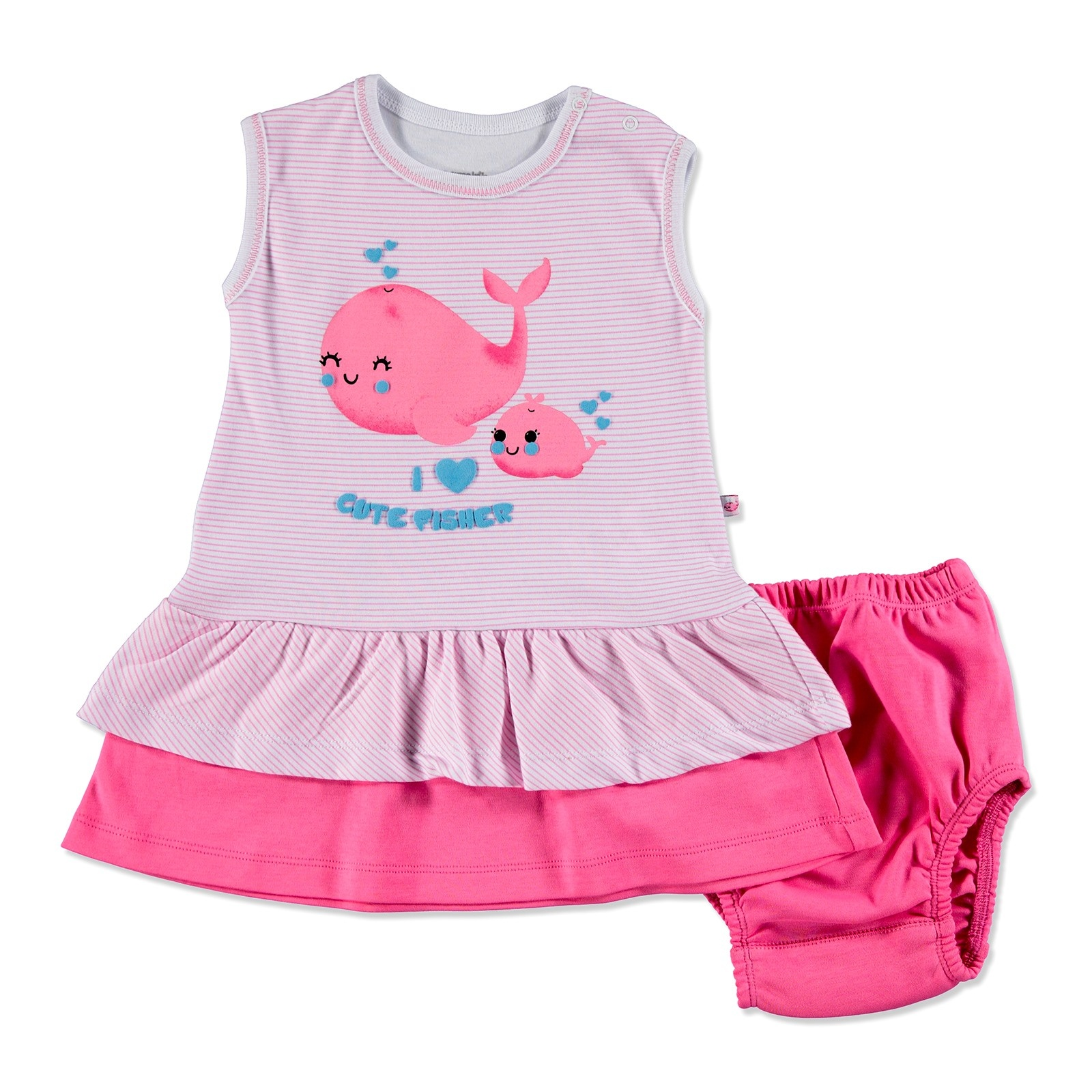Ebebek Carmin Baby Summer Girl Cute Whale Dress