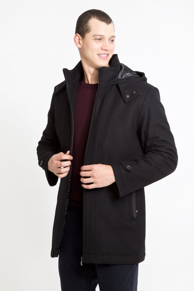 Kigili Menswear Autumn-Winter Warm Casual Overcoat High Quality Capuched Wool Coats Essentials Men's Wool Blend Jacket