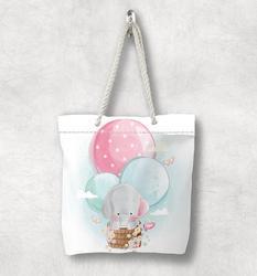 Else Серый слон на воздушных шариках розовый синий Модная белая веревочная ручка Холщовая Сумка мультяшный принт на молнии сумка на плечо