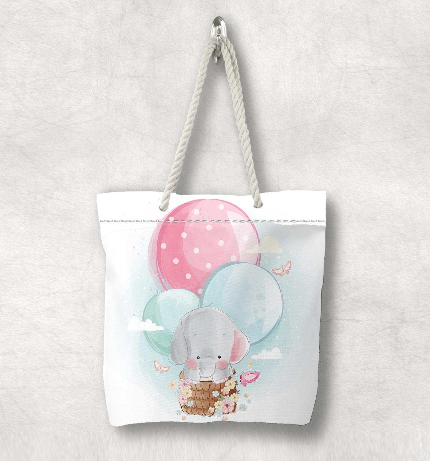 Else Gray Elephant On Air Balloons Pink Blue Fashion White Rope Handle Canvas Bag  Cartoon Print Zippered Tote Bag Shoulder Bag