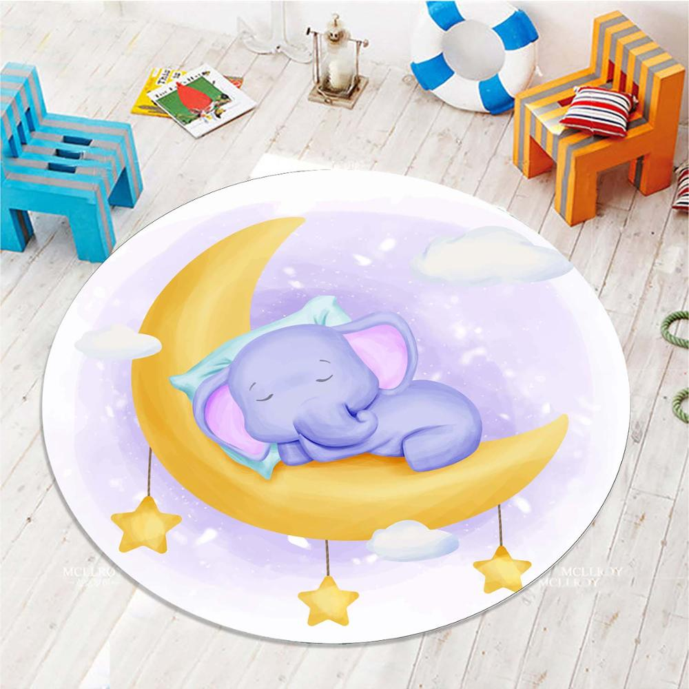 Else Yellow Moon Sleepy Baby Elephant 3d Pattern Print Anti Slip Back Round Carpets Area Round Rug For Kids Baby Children Room