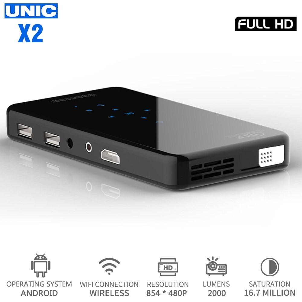 UNIC X2 LED Full HD Mini projecteur 1080P HDMI USB DLP Home cinéma lecteur multimédia Android 7.1 Wifi Bluetooth Portable 3D Proyector