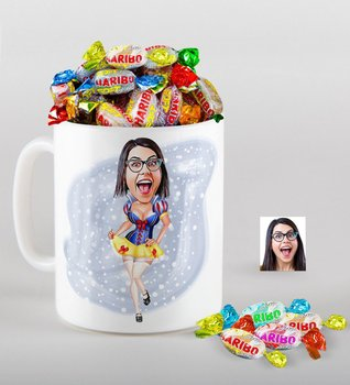 Personalized Cotton Princess Caricature Of mug And Haribo Fruitbons Candy Gift set