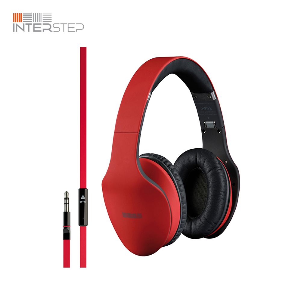 Earphones with mic INTERSTEP Hdp-200 Red interstep hdp 150 white