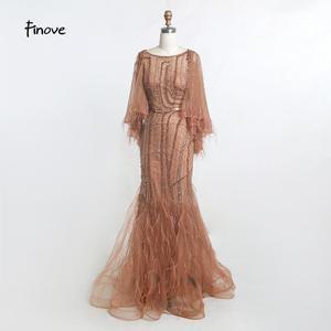Image 1 - Finove בציר שמלת ערב ארוך 2020 חדש נובל שמפניה בת ים שמלת O צוואר חרוזים נוצות עם גלימת מסיבת שמלות בתוספת גודל