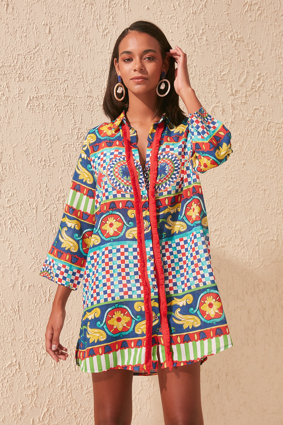 Trendyol Tassels Shirt Voile Dress TBESS20GO0163|Blouses & Shirts|   - AliExpress