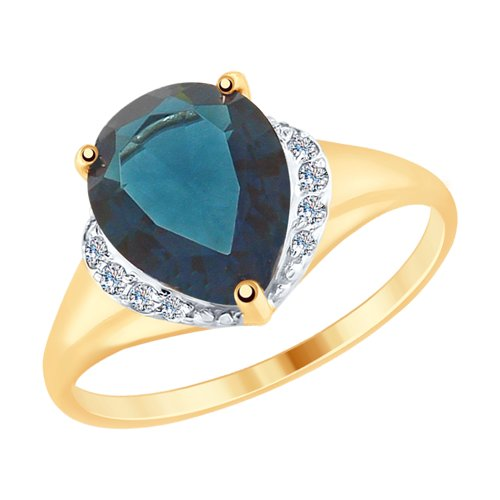 SOKOLOV Ring Gold With Blue Topaz And Cubic Zirkonia