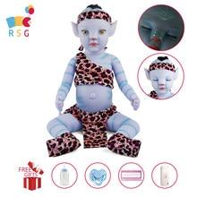 Rsg bebe renascer boneca de bebê 20 polegadas luz da noite macio corpo vinil cheio lifelike azul bebê boneca presente brinquedo para crianças