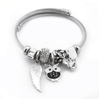Pandora Gemstone Beaded Black White Owl Figured Steel Bracelet Vintage charms bracelets for women Pandora bracelet