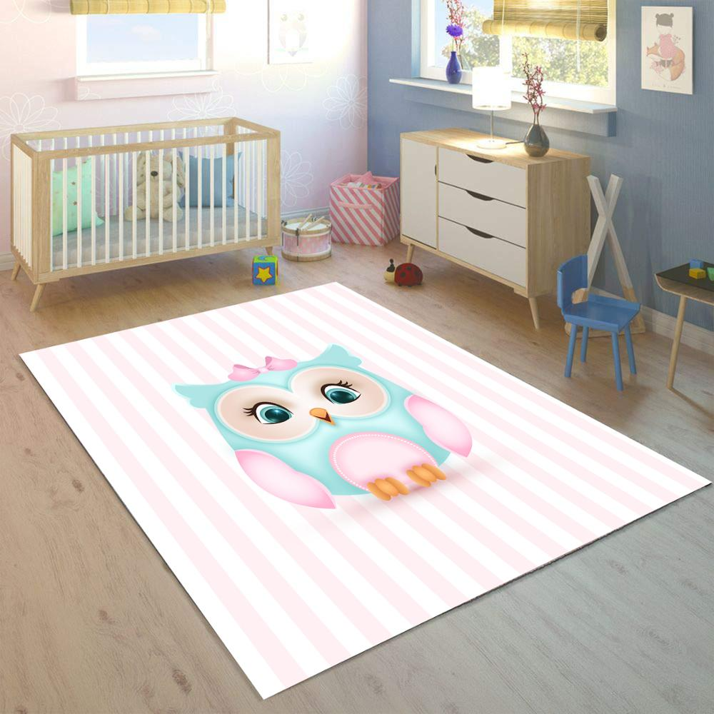 Else Pink Lines On Blue Cute Owl 3d Print Non Slip Microfiber Children Kids Room Decorative Area Rug Kids  Mat
