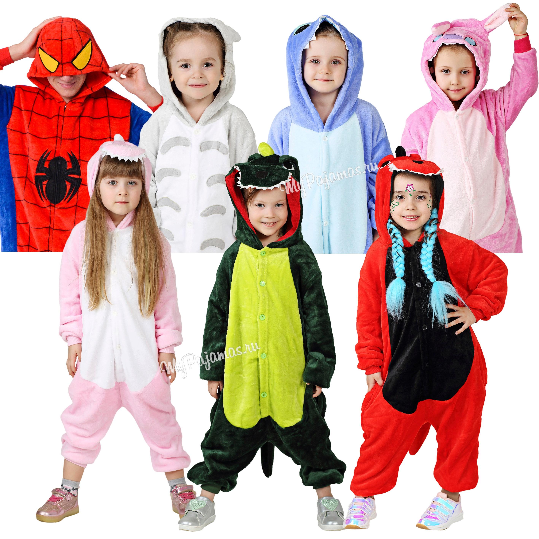 Sleepwear Kigurumi As Fiction Characters, Stitch, Pikachu, Red, Green And Pink Dinosaur, Minion, Totoro, Jumpsuits