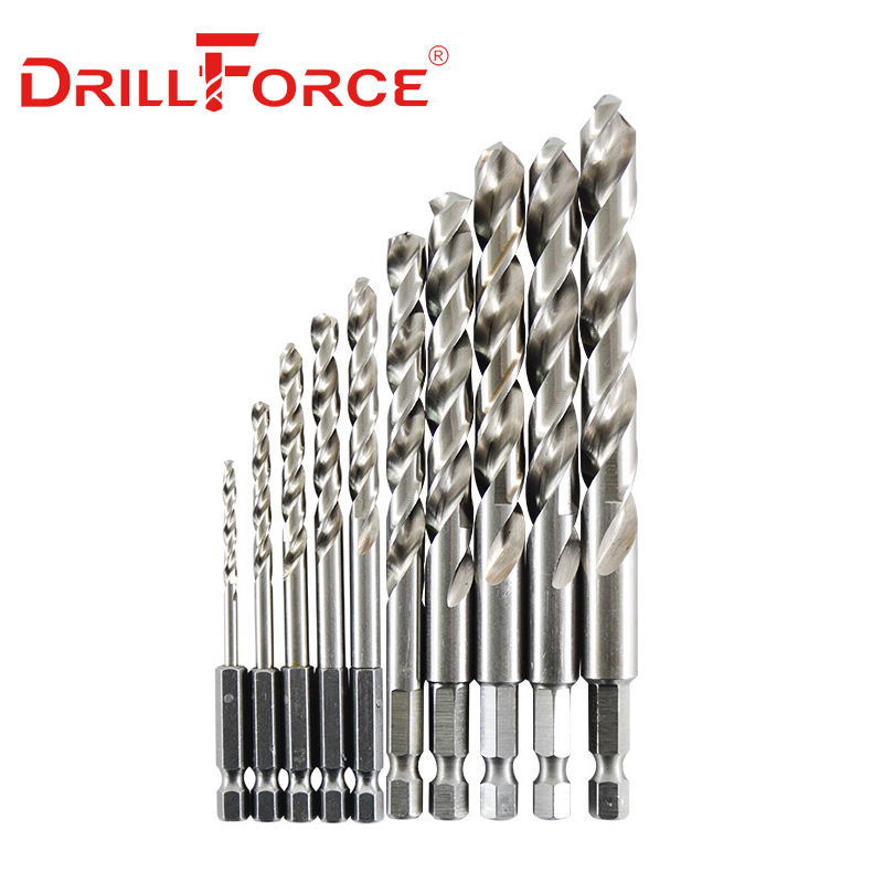 10PCS 1.5mm-13mm M35 HSSCO Cobalt Drill Bits HSS Twist Hex Quick Change Drill Bit For Stainless Steel(1.5/2/3/4/5/6/7/8/10/13mm)