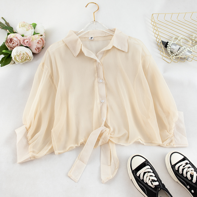 Lantern Sleeve Fall Top Workwear Lady Buttoned  Up Shirt Long Sleeve Blouse Tied Waist Tops Work Elegant Blouses photo review
