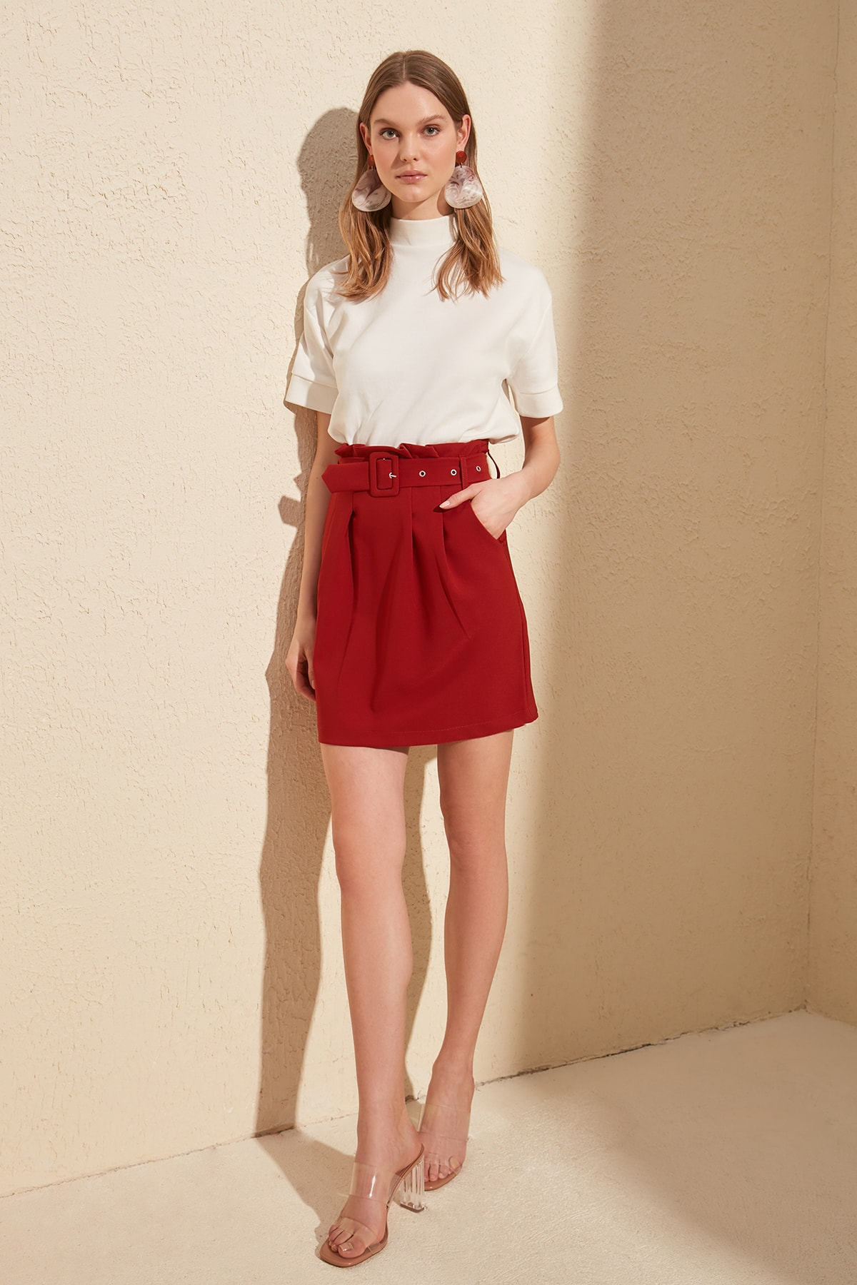 Trendyol Belt Detail Skirt TWOSS20ET0359