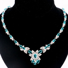 27x23mm SheCrown Hot Sell Rich Blue Aquamarine CZ Womans Wedding Silver Necklace 18.5-19.5inch