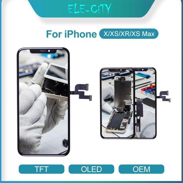 עבור iPhone X XR XS OEM LCD מגע מסך גמיש OLED סופר AMOLED תצוגת Digitizer עצרת שחור & לבן