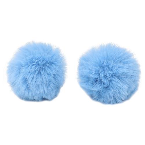 Pompon Made Of Artificial Fur (rabbit), D-6cm, 2 Pcs/pack (a Blue)