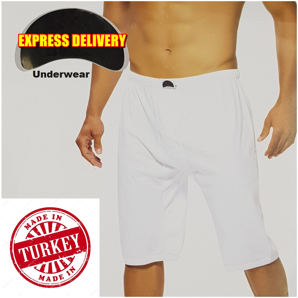 SET OF 5/10 Famous Turkish Breathable Fabric WHITE COTTON EXTRA LONG Briefs Boxer for Men Comfortable Soft Underwear Underpants