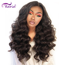 ILARIA 250% плотность 360 кружевные передние парики, предварительно выщипанные бразильские свободные волнистые волосы, кружевные передние человеческие волосы, парики для черных женщин