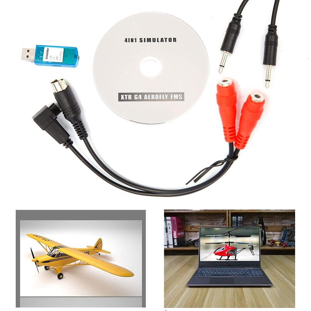 Flight USB Simulator Cable For DX5E DX6I DX7 JR Futaba RC Esky Spectrum RealFlight XTR G4 AEROFLY FMS (Tutorial With RC Controll
