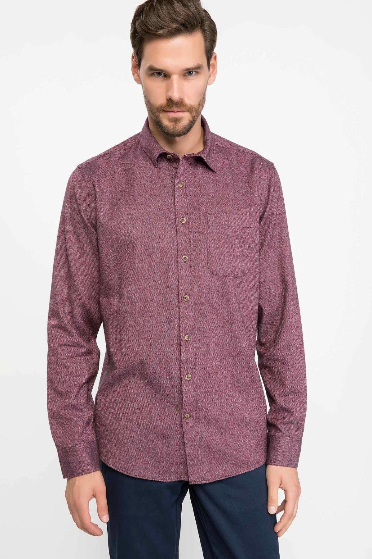 DeFacto Man Purplish Red Color Top Shirts Wome Casual Smart Autumn Winter Long Sleeve Shirt High Quality-J1654AZ18WN