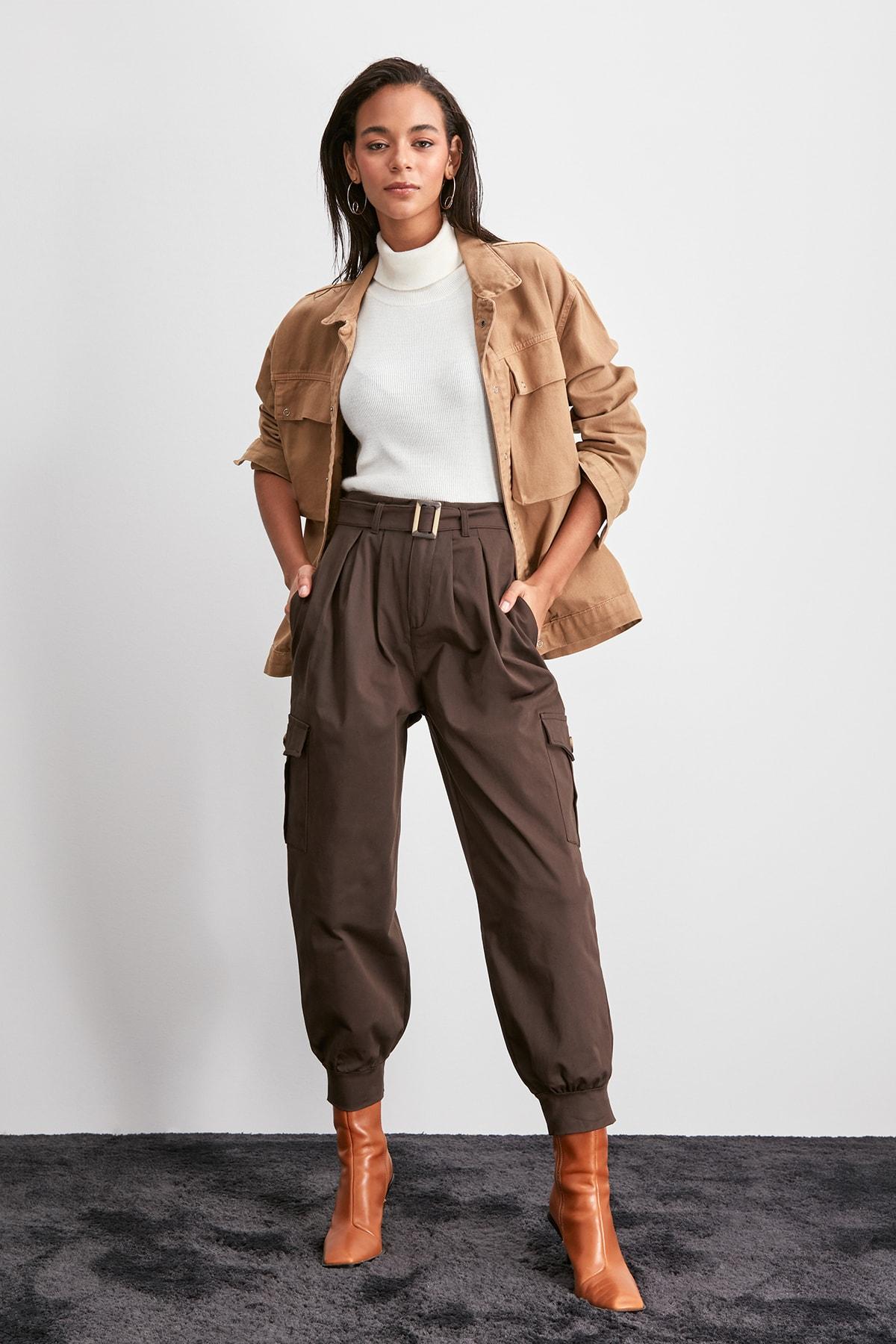 Trendyol Belt Detail Pants TWOAW20PL0574